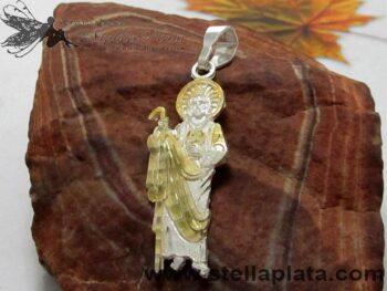 Dije Dorado San Judas Tadeo Religioso Plata 925 distribuidor de mayoreo platerias de taxco joyerias en mexico alicia plata joyas mercado libre